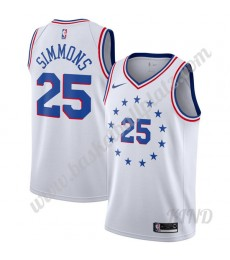 Philadelphia 76ers Trikot Kinder 2019-20 Ben Simmons 25# Weiß Earned Edition NBA Trikots Swingman..