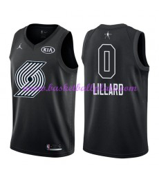 Portland Trail Blazers Trikot Herren Damian Lillard 0# Schwarz 2018 NBA All Star Game Basketball Trikots Swingman
