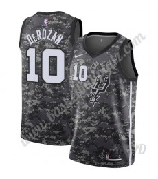 San Antonio Spurs Trikot Kinder 2019-20 DeMar DeRozan 10# Schwarz City Edition NBA Trikots Swingman..