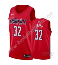 Washington Wizards Trikot Kinder 2019-20 Jeff Grün 32# Rot Earned Edition NBA Trikots Swingman..