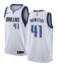 Dallas Mavericks Trikot Herren 2018-19 Dirk Nowitzki 41# Association Edition Basketball Trikots NBA Swingman