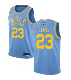 Los Angeles Lakers Trikot Herren 2018-19 LeBron James 23# Light Blau Hardwood Classics Basketball Tr..