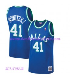 Dallas Mavericks NBA Trikot Kinder 1998-99 Dirk Nowitzki 41# Blau Hardwood Classics Basketball Triko..