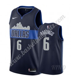 Dallas Mavericks Trikot Kinder 2019-20 Kristaps Porzingis 6# Marine Statement Edition NBA Trikots Sw..