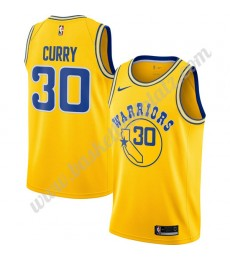Golden State Warriors Trikot Herren 2019-20 Stephen Curry 30# Gold Hardwood Classics Basketball Trik..