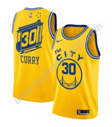 Golden State Warriors Trikot Herren 2019-20 Stephen Curry 30# Gelb Finished Hardwood Classics Basket..