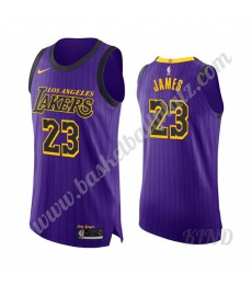 Los Angeles Lakers Trikot Kinder 2019-20 LeBron James 23# Lila City Edition NBA Trikots Swingman..